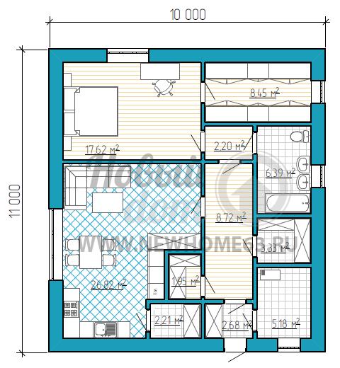 Планировка одноэтажного дома размером 11 на 10 метров с большой спальной комнатой, несколькими кладовыми и отдельной гардеробной комнатой