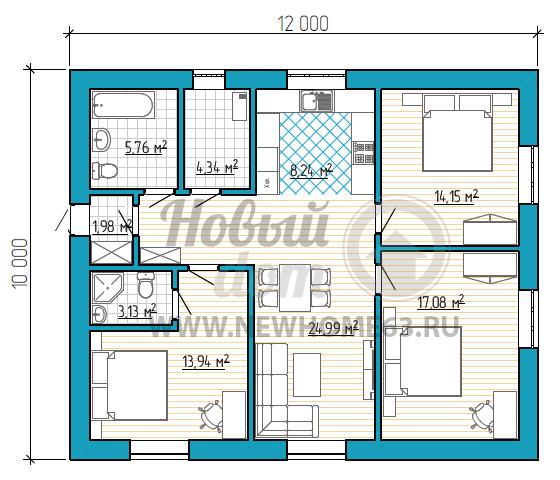 Планировка большого одноэтажного дома размером 10 на 12 метров с тремя большими спальными