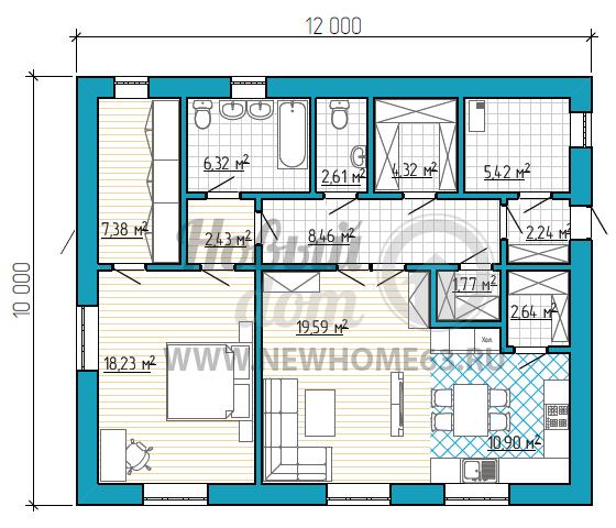 План одноэтажного коттеджа 10 на 12 метров с одной спальной и большим помещением кухни-гостиной