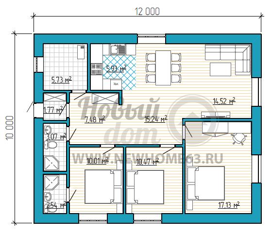 Планировка одноэтажного дома с большим общим пространством, спальной для родителей и двумя детскими