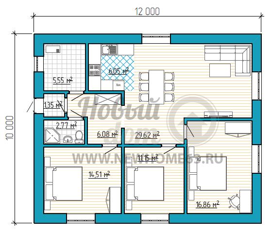 План одноэтажного коттеджа 10 на 12 метров с 3-мя спальными
