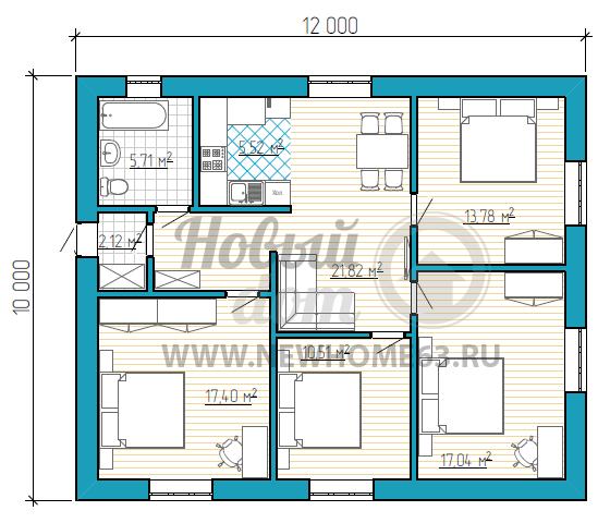 Планировка одноэтажного частного дома с четырьмя спальными комнатами и гостиной