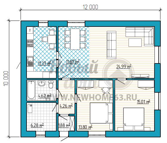 Планировка одноэтажного дома размером 10 на 12 метров с двумя спальными, отдельной кухней и гостиной