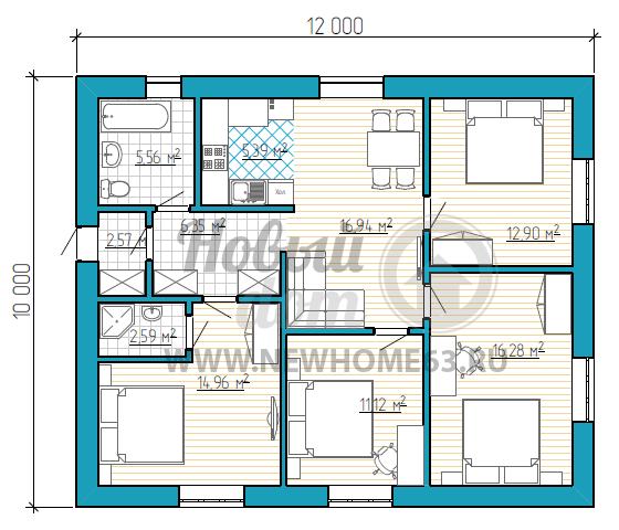 План одноэтажного загородного коттеджа 10 на 12 метров для большой семьи