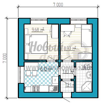 План небольшого частного дома с двумя спальными
