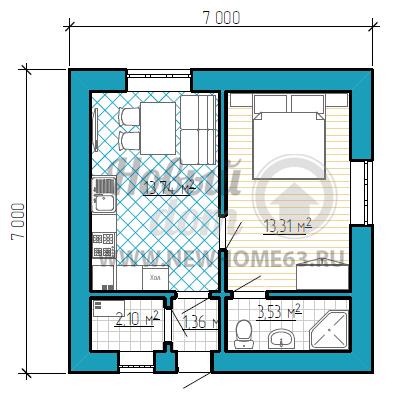 План небольшого загородного дома 7 на 7 метров с 2-мя комнатами
