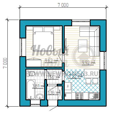 Планировка одноэтажного дома площадью до 50 квадратных метров