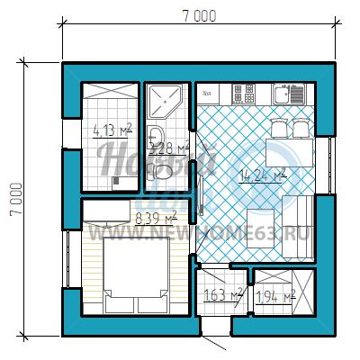 Одноэтажный дачный дом 7 на 7 метров с одной спальной и кухней-гостиной