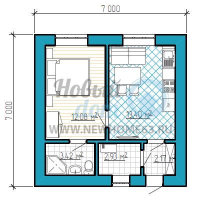 Пример небольшого коттеджа площадью до 50 квадратных метров