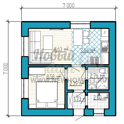 Планировка одноэтажного дома 7 на 7 метров с одной спальной
