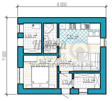Небольшой 1-этажный дом с 1-ой спальной и кухней-гостиной