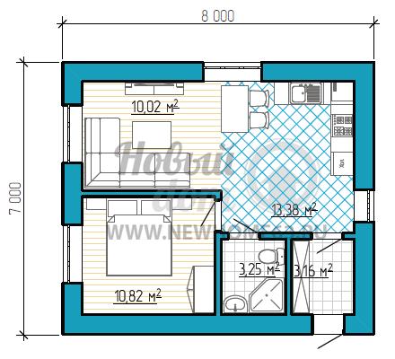 Планировка одноэтажного загородного дома 7 на 8 метров с большой комнатой студией