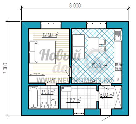 Пример плана дома размером 7 на 8 метров с двумя комнатами и большим подсобным помещением