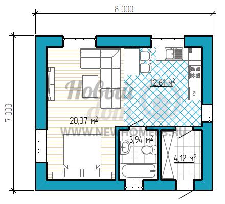 """План небольшого коттеджа 7 на 8 метров с одной большой комнатой """"студией"""""""