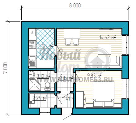 Одноэтажный частный дом размером 7 на 8 метров, с одной спальной, гостиной и кухней