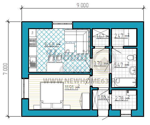 Одноэтажный дом 7 на 9 метров с сауной