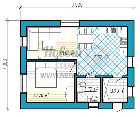 Одноэтажный коттедж с большой объединенной кухней-гостиной