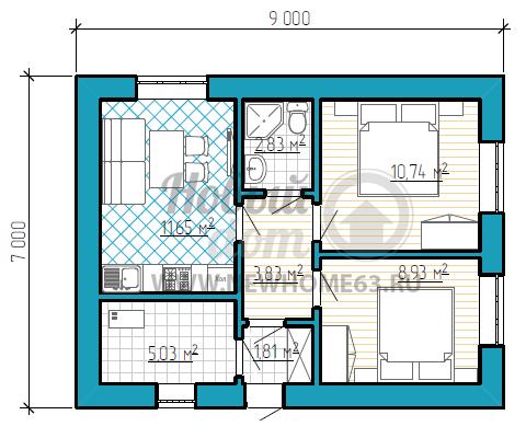 Частный дом 7 на 9 метров с тремя комнатами и помещением котельной