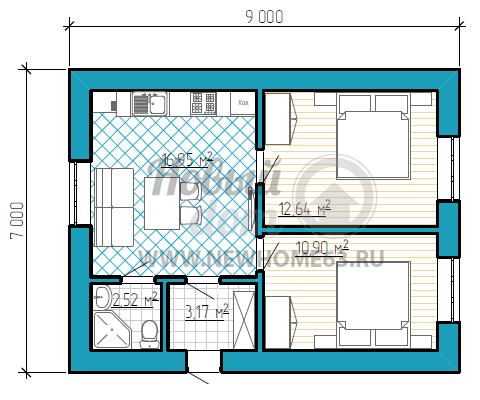 Одноэтажный дом размером 7 на 9 метров с двумя спальными комнатами