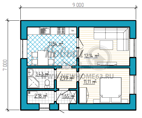 Планировка небольшого одноэтажного загородного дома площадью 50 квадратных метров