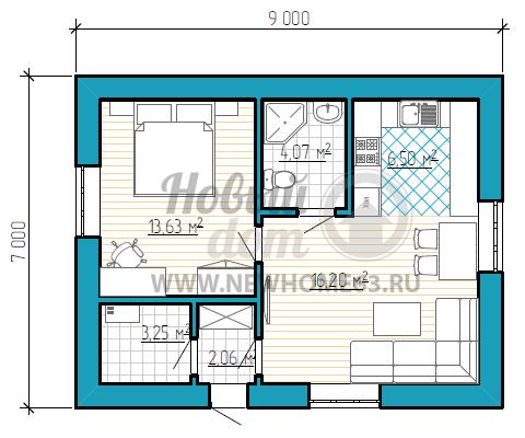 Планировка 1-этажного дома с двумя комнатами