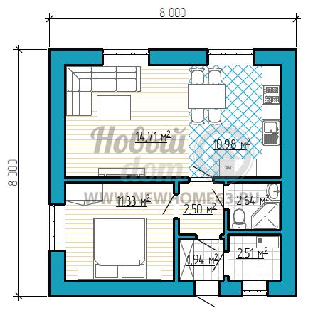 Планировка квадратного дома площадью около 50 квадратных метров с 1-ой спальной комнатой и большой гостиной