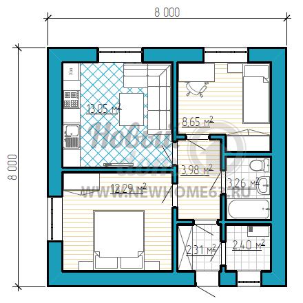 Одноэтажный дом размером 8 на 8 метров для семьи из трех человек