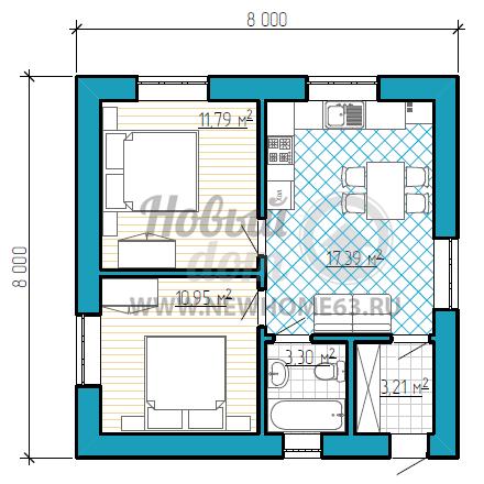План одноэтажного коттеджа с двумя отдельными спальными и большой кухней