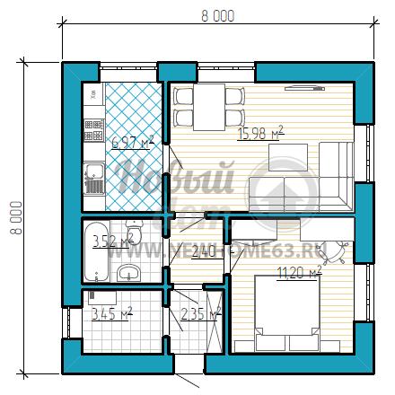 Планировка квадратного дома размером 8x8 метров