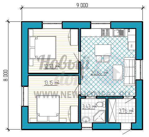 План одноэтажного коттеджа 8 х 9 м с двумя спальными и просторной кухней-столовой.