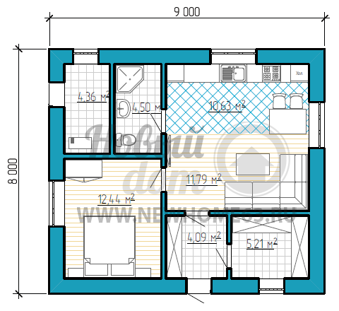 Планировка дома 8 на 9 м для проживания 2-3 человек с одной спальной, большим гардеробом, общей кухней-гостиной.