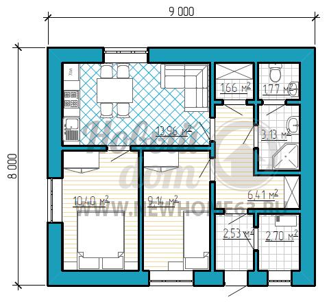 Планировка одноэтажного коттеджа размером 8 на 9 метров с двумя небольшими спальными