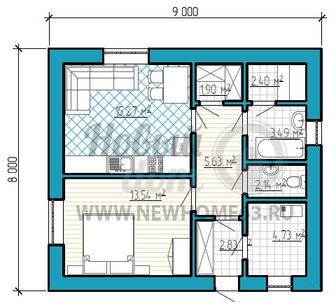 Планировка одноэтажного дома 8х9 м с одной спальной