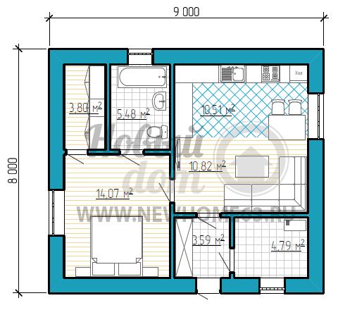 Планировка коттеджа 8х9 м с небольшой зоной кухни и гостиной, одной спальной, имеющей отдельный гардероб, и отдельным помещением под котельную.