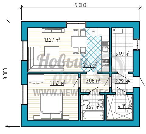 Планировка частного коттеджа размером 8 на 9 метров с небольшой зоной кухни и гостиной, одной спальной
