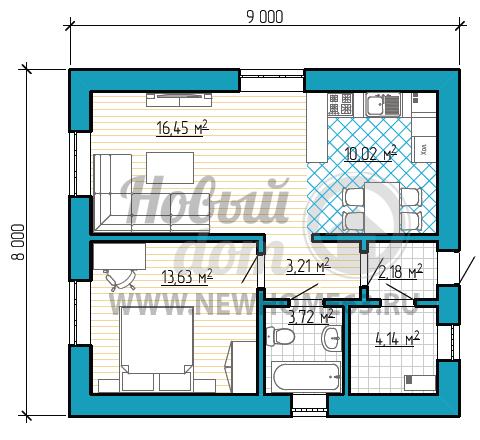 Планировка дома 8 на 9 с одной отдельной спальной, небольшой кухней-столовой, соединенной с зоной гостиной.