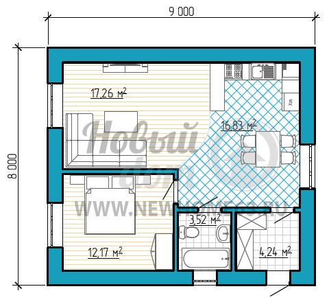 Планировка коттеджа 8х9 м с одной спальной