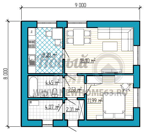 Планировка небольшого загородного дома 8 на 9 метров с отдельной кухней, просторной гостиной и небольшой спальной.