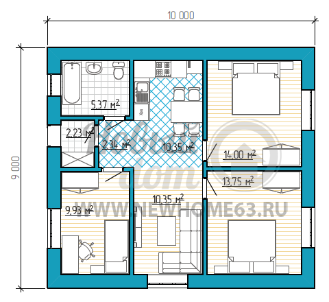 Планировка одноэтажного частного дома размером 9 на 10 метров с тремя спальными, одну из которых можно переделать в кабинет, небольшая зона гостиной и кухни-столовой.
