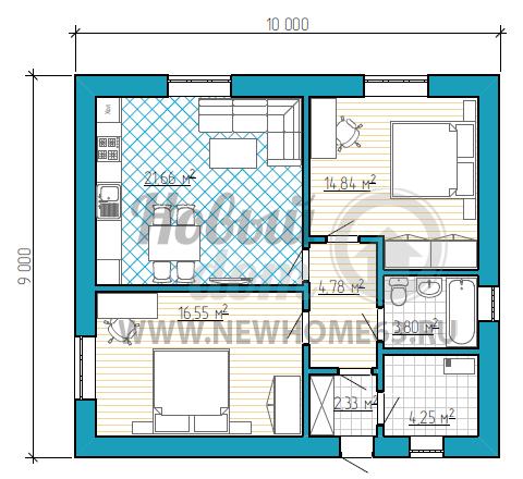 Планировка дома 9х10 м с двумя просторными спальными, общим большим пространством кухни и гостиной, что позволят собираться большому числу гостей.