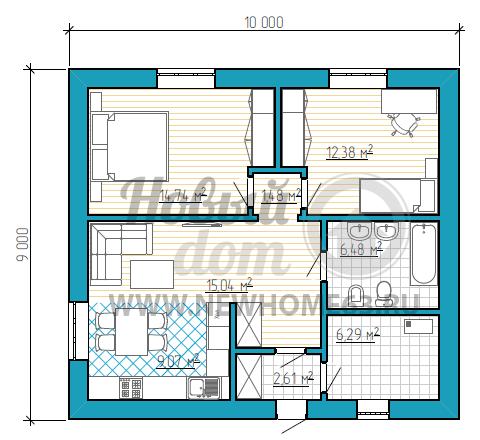 Планировка коттеджа площадью менее 100 квадратных метров с двумя раздельными спальными, небольшой зоной кухни, плавно перетекающей в гостиную, и просторной ванной.