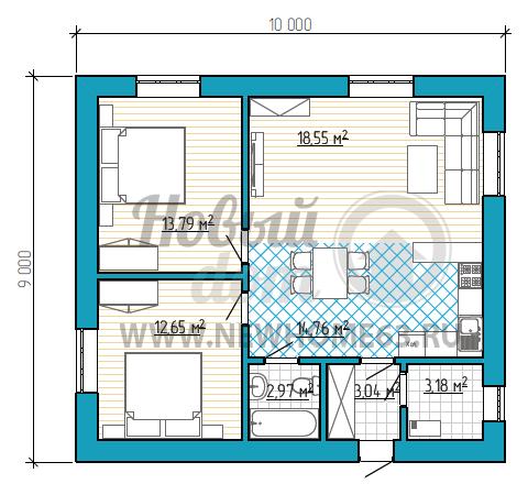 Планировка коттеджа 9х10 м с большим общим пространством, где расположена кухня, столовая и гостиная.