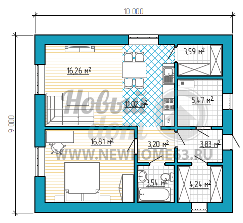 Планировка дома размером 9 на 10 метров с одной спальной комнатой, общей кухней-гостиной, с пристроенной небольшой кладовой.