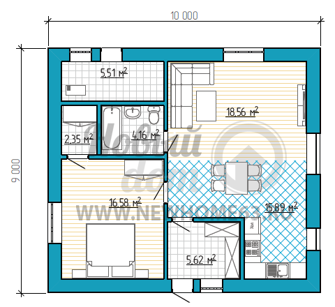 Планировка одноэтажного дома 9х10 м с большим тамбуром, просторная спальная со своим гардеробом, общая кухня-столовая-гостиная позволяет организовать прием большего числа гостей.