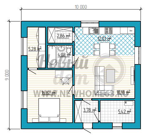 Планировка коттеджа размером 9 на 10, с общей зоной кухни и гостиной и одной просторной спальной, имеющей отдельную гардеробную