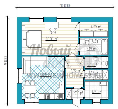Планировка коттеджа 9х10 м с большой спальной с отдельным гардеробом, общей просторной кухни-гостиной, небольшой кладовой, гостевым туалетом и просторной ванной для хозяев.
