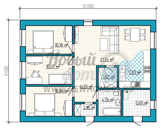 Планировка коттеджа 100 квадратных метров с тремя небольшими спальными, просторной зоной гостиной и удобным расположением кухонного гарнитура.