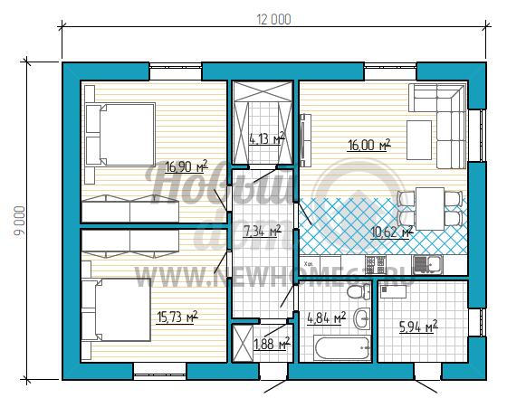 Планировка частного дома для проживания 3-5 человек имеет две спальные, просторную гостиную, объединенную с зоной кухни и столовой.