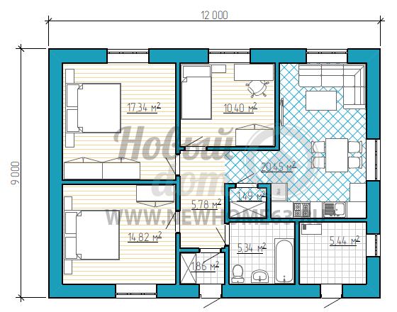 План загородного дома 9х12 с двумя просторными спальными и кабинетом
