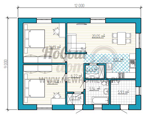 Планировка одноэтажного дома 9 на 12 с двумя спальными, общая зона кухни-гостиной, в доме есть кладовая, которую можно использовать в качестве гардероба.